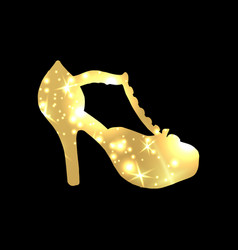 Golden shoes symbol with silhouette and gold vector