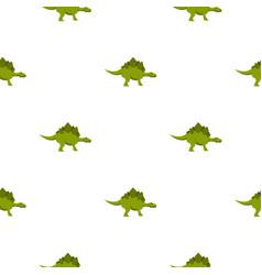 Green stegosaurus dinosaur pattern seamless vector
