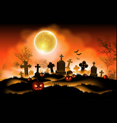 Halloween background with moon high detailed vector