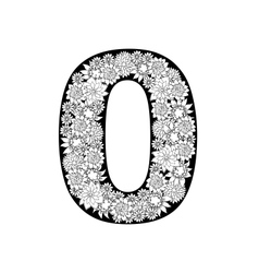 Hand drawn floral alphabet design Digit 0 vector image