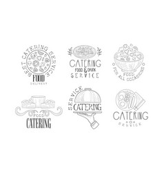 hand drawn logos for catering and food vector image