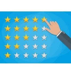 Hand of customer placing rating stars vector