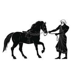 Hercules abducts the horses of diomedes vector