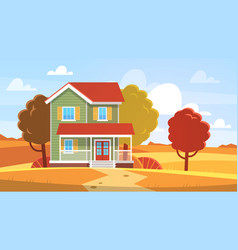 house in autumn home in fall landscape vector image
