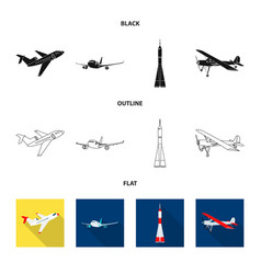 Isolated object of plane and transport logo set vector