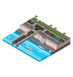isometric riverside embankment car roadway vector image