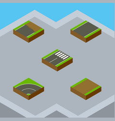 Isometric road set of footpath unfinished vector