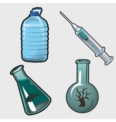 Kit for chemical research fish and plants vector