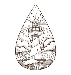 Lighthouse contour for logo emblem coloring page vector