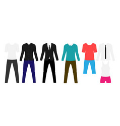 Man modern clothes flat set stylish suit and vector