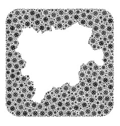 Map albacete province - flu virus collage with vector