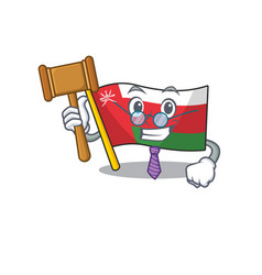Mascot flag oman with in judge character vector