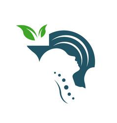 mental health care logo design head leaf hand vector image