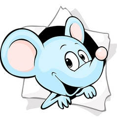 Mouse peering out of a hole in a paper vector