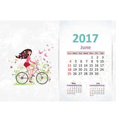 nice young woman is riding on a bicycle fun vector image