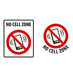 no cell zone sign simple black lines drawing of vector image