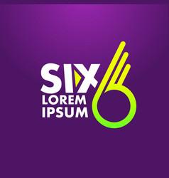 number 6 logo design template vector image