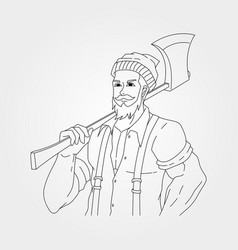 Old man holding ax design line art carpenter vector