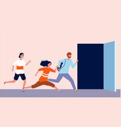People run to open door being late men and women vector