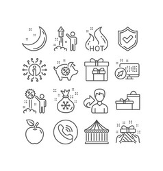 piggy sale santa sack and gift icons carousels vector image