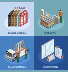 pvc windows isometric concept vector image
