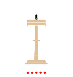 rostrum with one microphone it is icon vector image