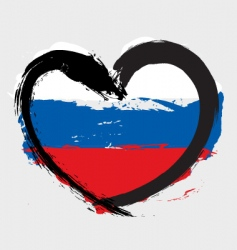 Russian heart shape flag vector