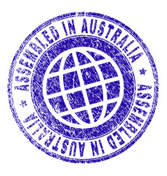 Scratched textured assembled in australia stamp vector