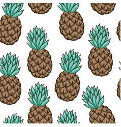 Seamless background with pineapple on white vector