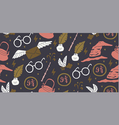 Seamless pattern with elements school magic vector