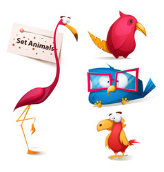set - cute funny cartoon characters vector image