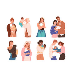 Set cute women and families with newborn baby vector
