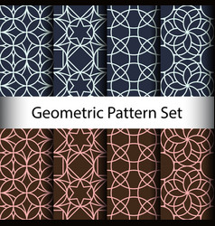 set geometric seamless pattern background vector image