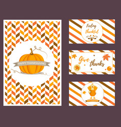 set holiday thanksgiving backgrounds vector image