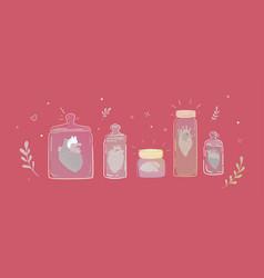 Set jars with broken hearts vector