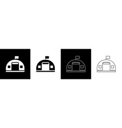 Set military barracks station icon isolated vector