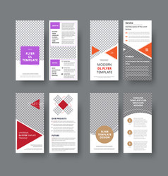 set of dl flyers with different geometric vector image