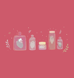 set of jars with broken hearts vector image