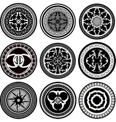 Set of round ornament pattern vector image