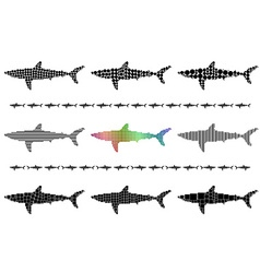 Shark silhouette mosaic set vector image