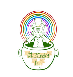 Sketch of a irish elf in a pot with a rainbow vector