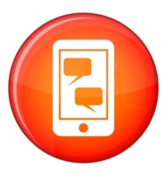Smartphone and speech bubbles icon flat style vector