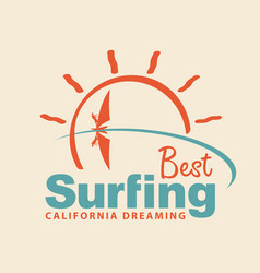 summer travel icon or logo with sea sun surfer vector image