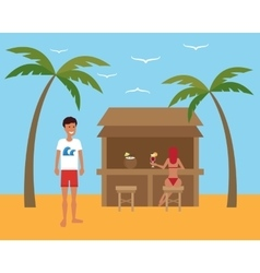 Summer vacation Man relaxing at the beach cafe vector image