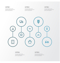 Transport outline icons set collection of car vector