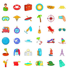 Travel in summer icons set cartoon style vector