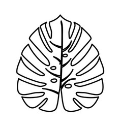 tropical leaf black icon vector image