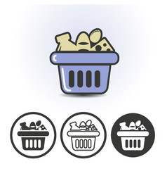 Usual food in the market basket icon vector