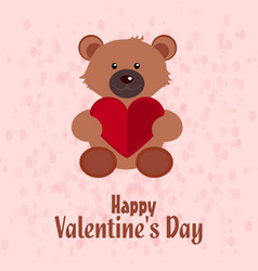 valentines day card with teddy bear and pattern vector image