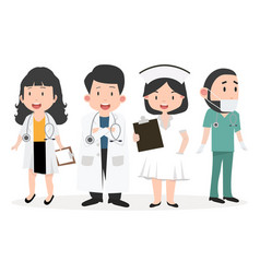 variety of doctor cartoon set vector image